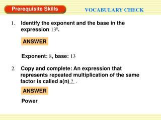 Prerequisite Skills