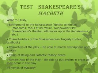 TEST – Shakespeare's  Macbeth