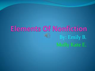 Elements Of Nonfiction