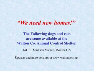 �We need new homes!�