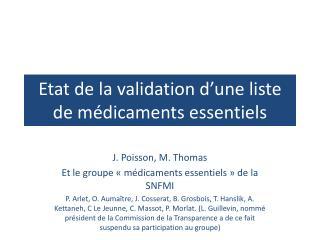 Etat de la validation d'une liste de médicaments essentiels