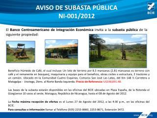 AVISO DE SUBASTA PÚBLICA NI-001/2012