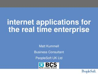 internet applications for the real time enterprise