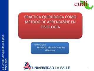 Día Virtual: Comunidad Salud, CUDI.  Mayo, 2008.