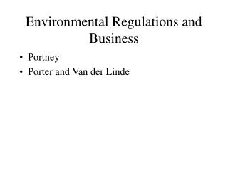 Environmental Regulations and Business