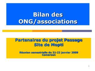 Bilan des  ONG/associations