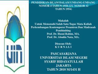 KURNALI Perkembangan Kontemporer Pesantren Dan Madrasah