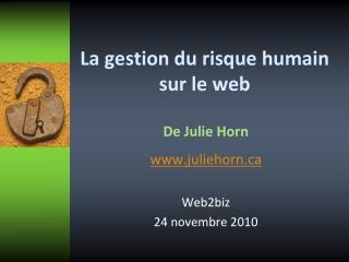 La gestion du risque humain sur le web