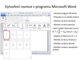 Vytvoření rovnice v programu Microsoft Word