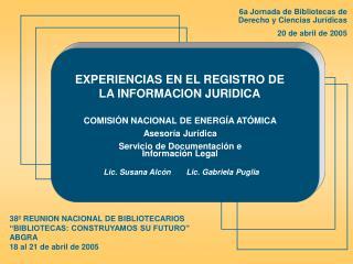"""38º REUNION NACIONAL DE BIBLIOTECARIOS  """"BIBLIOTECAS: CONSTRUYAMOS SU FUTURO"""" ABGRA"""