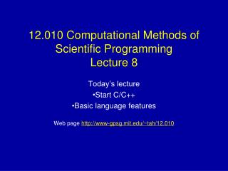 12.010 Computational Methods of Scientific Programming