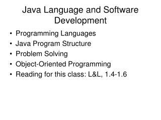 Java Language and Software Development