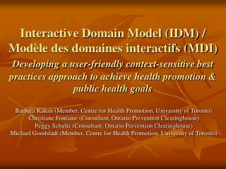 Interactive Domain Model IDM