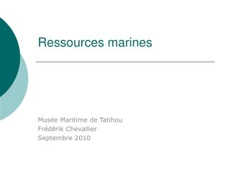 Ressources  marines