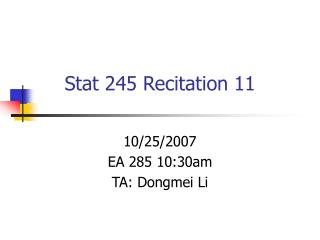 Stat 245 Recitation 11