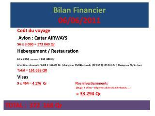 Bilan Financier  06/06/2011