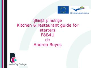 ?tiin?? ?i nutri?ie K itchen & restaurant guide for starters F&B4U de Andrea Boyes