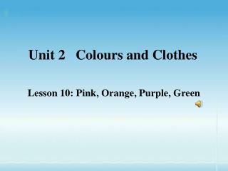 Unit 2   Colours and Clothes