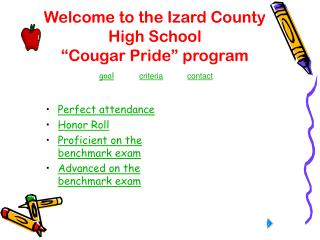 "Welcome to the Izard County  High School ""Cougar Pride"" program"