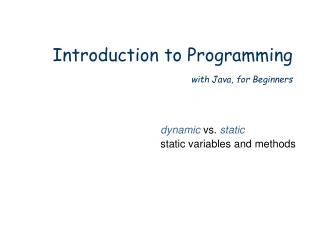 Introduction to Programming with Java, for Beginners