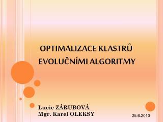 OPTIMALIZACE KLASTRŮ  EVOLUČNÍMI ALGORITMY
