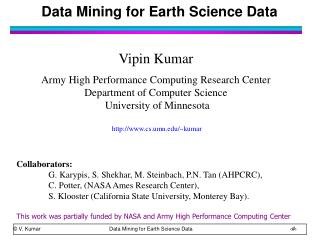 Data Mining for Earth Science Data