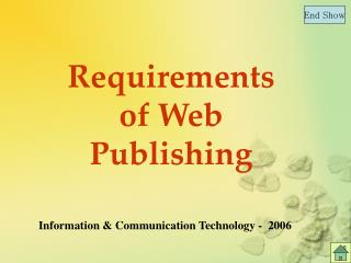 Requirements of Web Publishing