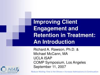 Improving Client Engagement and Retention in Treatment: An Introduction