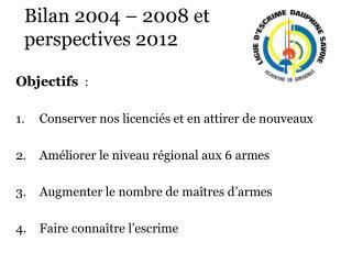 Bilan 2004 – 2008 et  perspectives 2012