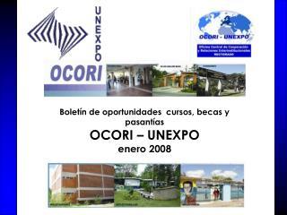 Boletín de oportunidades  cursos, becas y pasantías  OCORI – UNEXPO enero 2008