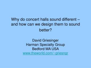 Why do concert halls sound different   and how can we design them to sound better