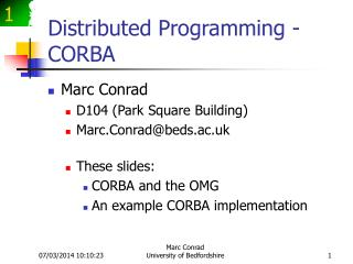 Distributed Programming - CORBA