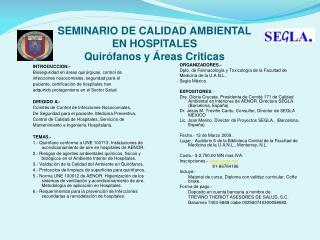 SEMINARIO DE CALIDAD AMBIENTAL  EN HOSPITALES Quirófanos y Áreas Criticas