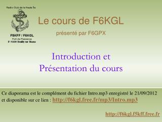 Introduction et  Présentation du cours