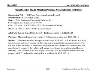Project: IEEE 802.15 Wireless Personal Area Networks (WPANs)