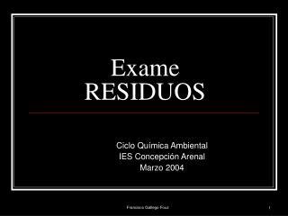 Exame RESIDUOS