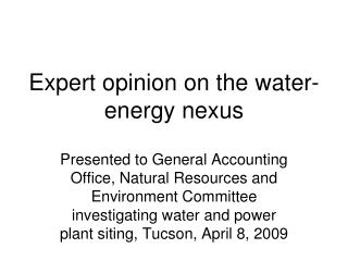 Expert opinion on the water-energy nexus