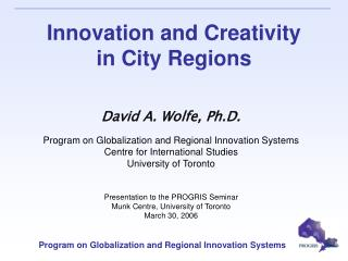 Innovation and Creativity  in City Regions
