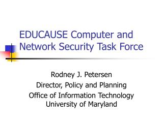 EDUCAUSE Computer and Network Security Task Force