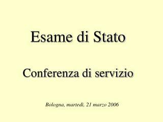 Esame di Stato Conferenza di servizio