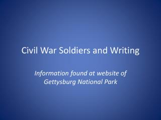 Civil War Soldiers and Writing