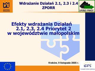 Wdrażanie Działań 2.1, 2.3 i 2.4 ZPORR