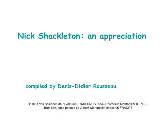 Nick Shackleton: an appreciation