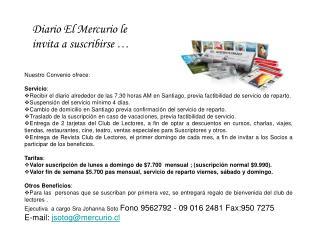 Diario El Mercurio le invita a suscribirse  …