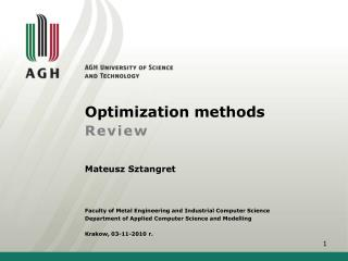 Optimization methods Review