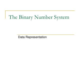 The Binary Number System