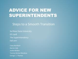 Advice for New Superintendents