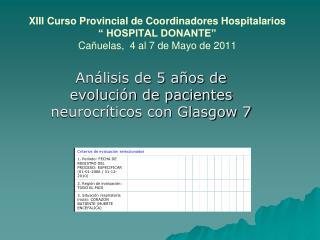 Análisis de 5 años de evolución de pacientes neurocríticos con Glasgow 7