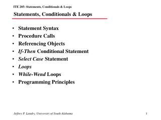 Statements, Conditionals  Loops