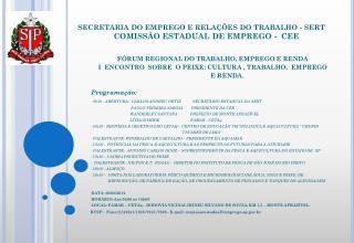 FÓRUM REGIONAL DO TRABALHO, EMPREGO E RENDA
